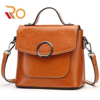 Women Split Leather Handbag Messenger Bag For Female Flap Small Mini Fashion Classic Solid Brown Crossbody Bags Girls Sac A Main