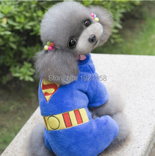 2016 Fashion Pet Dog clothes Warm Puppy dog superman costume Apparel Clothes dog Jumpsuit Hoodie Coat four legs #J36