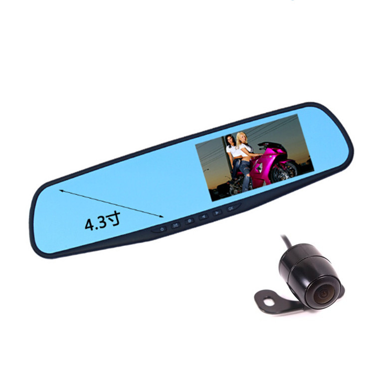 4.3 Inch Rear View Mirror DVR Recorder With Front   1080P And Rear View Camera 720p