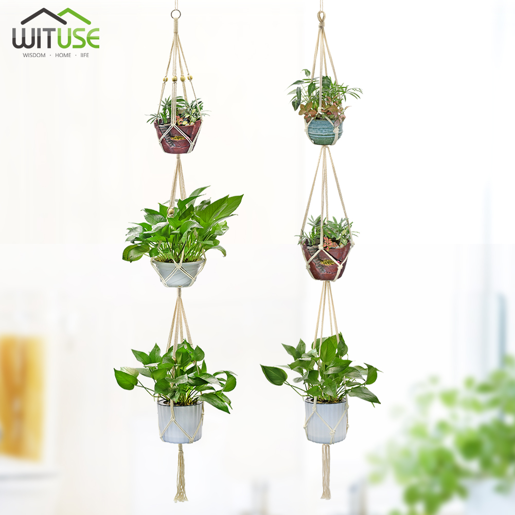 Plant Support & Care Boho Garden Decor Plant Hanging Hanger Rope Tassel Basket Holder For Flower Pot Set Cheap Sales 50% Plant Cages & Supports