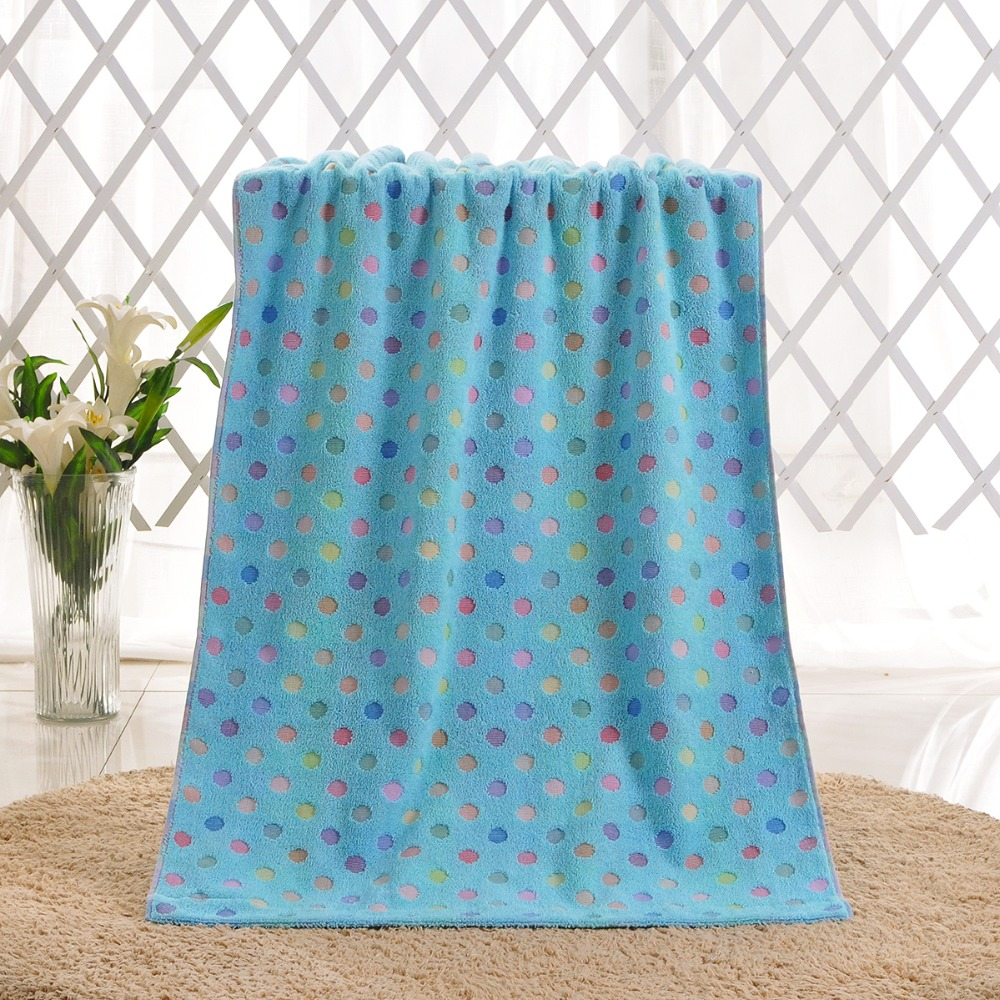 Bath Towel Set Novelty Spa Towels 100% Cotton Polka Dot 70X140Cm Gym ...