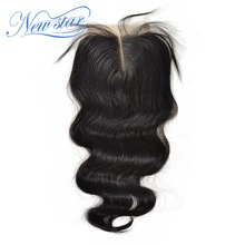 "New Star Hair Peruvian Lace Body Wave Middle Part Closure 4""x4"" Swiss Lace Natural Color Virgin Human Hair With Baby Hair"