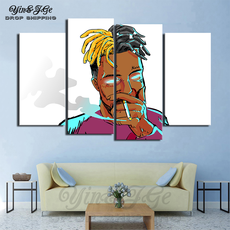 Modern Cuadros Decor Wall Frame 4 Pieces Xxxtentacion Character Canvas Painting For Living Room HD Printed Music Poster Pictures
