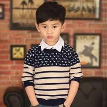 NEW Autumn Boys Sweater Classic Striped Kids Casual Outwear For Boy Woolen Long Sleeve Pullover Knitted Tops Roupa Menino