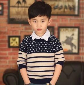 NUEVO Otoño Niños Suéter Clásico de Rayas Niños Outwear Casual Para Niño de Lana de Manga Larga Jersey de Punto Tops Roupa Menino