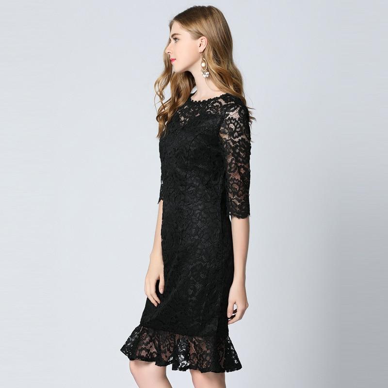 2017 Summer Dress Women Vestidos Sexy & Club Black Lace Mermaid - Ropa de mujer - foto 3