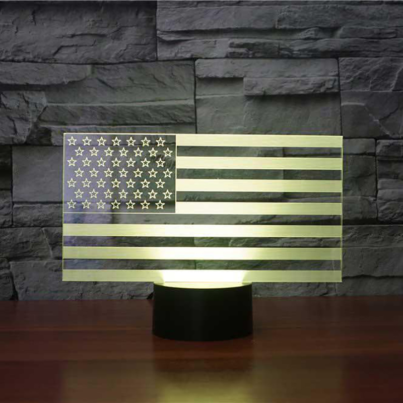 7 Color Changing USB Bedroom Decor American Flag Stripes Shape Table Lamp 3D LED Night Lights Bedside Sleep Light Fixture Gifts