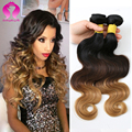 Ombre Human Hair Weave Peruvian Virgin Hair Body Wave 3 Bundle Annabelle Hair Three Tone blonde Peruvian Wet And Wavy Human Hair