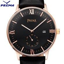 PREMA Brand Luxury Simple Watch Men 30M Waterproof Ultra Thin Calendar Clock Male Leather Band Casual Quartz Sports Wrist Watch