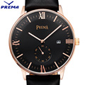 Prema marca simples homens relógio de luxo 30 m impermeável ultra fino relógio calendário masculino pulseira de couro de pulso de quartzo esportes casuais relógio