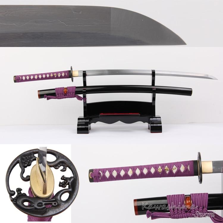 Véritable épée de samouraï faite à la main damas en acier plié pleine Tang japonais Katana violet Ito fourniture de netteté-41 pouces