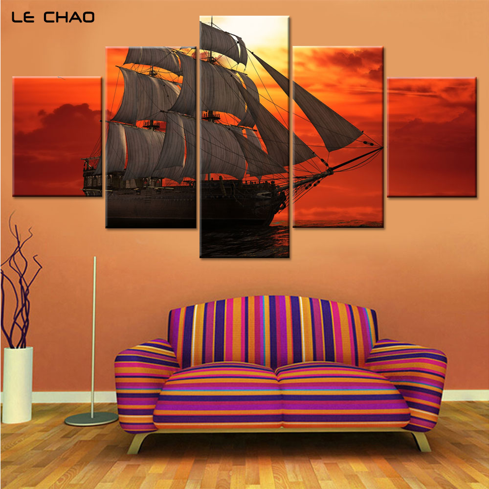 compare prices on canvas water drop online shopping buy low price sailboat canvas art home decor red sky canvas paintings for living room posters and prints modern painting art drop shipping