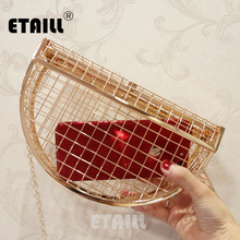 ETAILL Hollow Out Metal Plaid Evening Dress Bag Box Cage Ladies Clutch Bag 2018 Solid Party Luxury Fashion Chain Shoulder Bag plaid swing chain bag