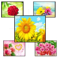 Diy Diamond Drawing 5D Square Diamond Painting Sunflower Complete Drill Painting Rhinestone Cross Stitch