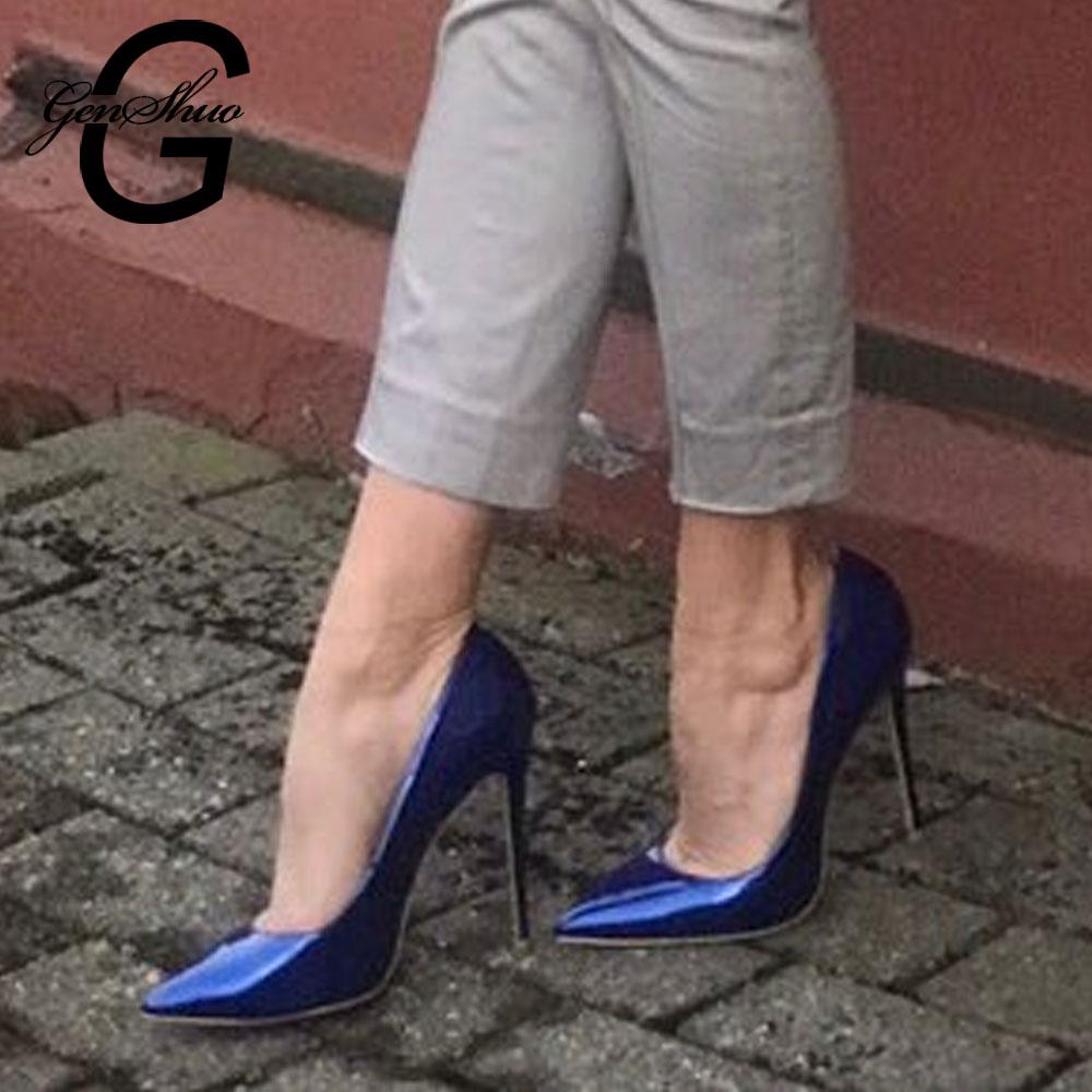 GENSHUO Elegant Women Dark Blue Patent Leather Pointy Evening Dress Pumps High Heels Ladies Party Shoes Plus Size 6-12 Pumps