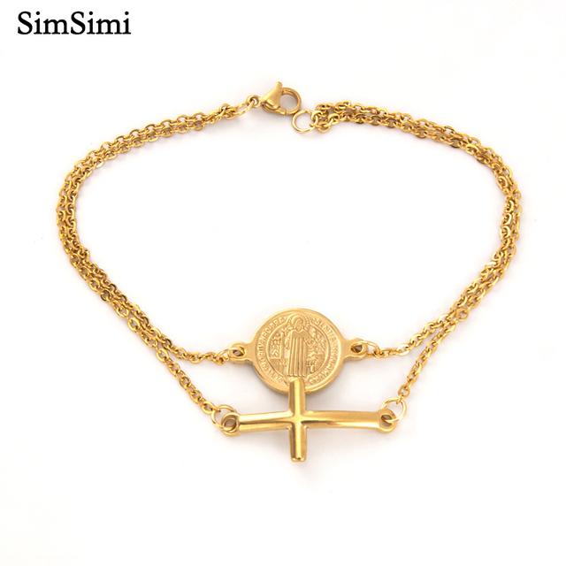 Double Layers Saint Benedict and Cross Charm Golden Bracelet Women Jewelry Rolo Chain Stainless Steel Bracelets for Men