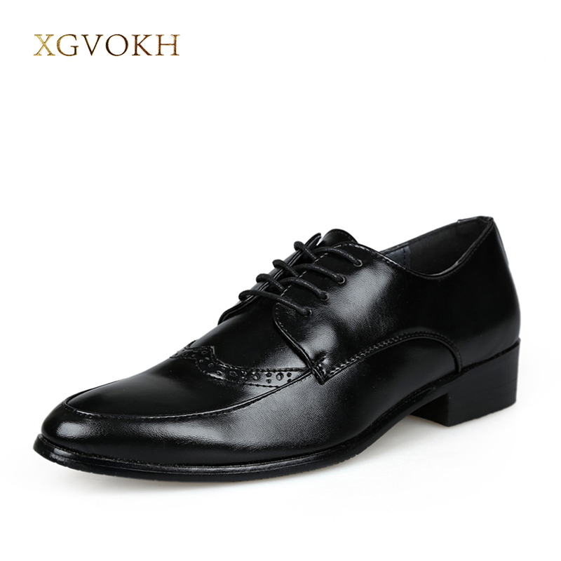 Men's Leather Oxfords Shoes Classic Fomal Business Men Lace-Up Black Shoes Gentleman Dress Shoes Fashion XGVOKH Brand