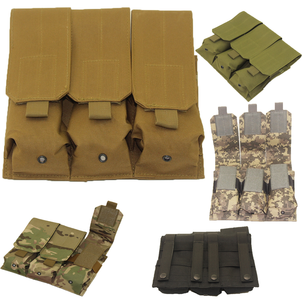 100% Quality Hunting Airsoft Outdoor Molle Tactical Triple Ar15 M4 5.56mm Mag Magazine Pouch Pistol Handgun Shooting Vest Tool Dump Drop Bag Special Summer Sale