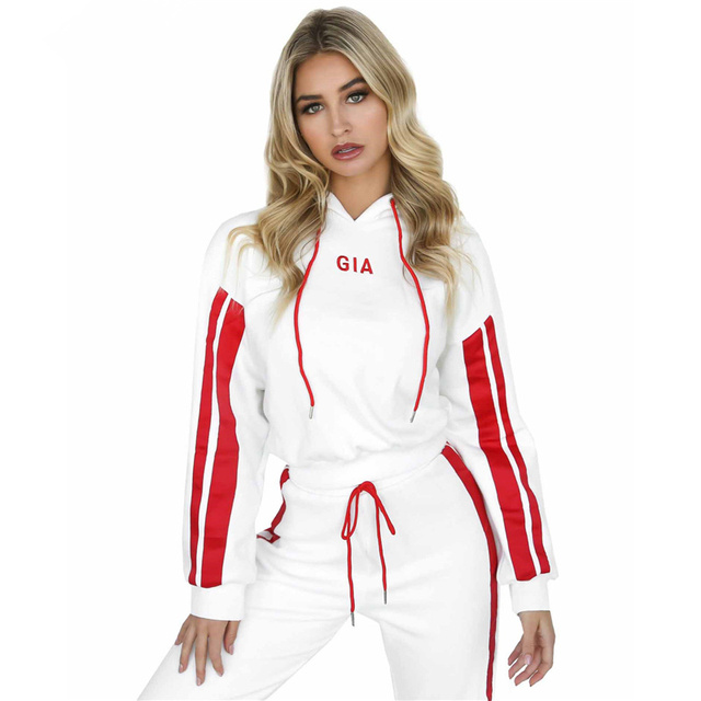 Women's suits 2018 Autumn 2 Piece Set Women Tracksuit Sportswear Casual White Red Sweat Pants Hooded Cropped Sweatshirt Hoodie 1