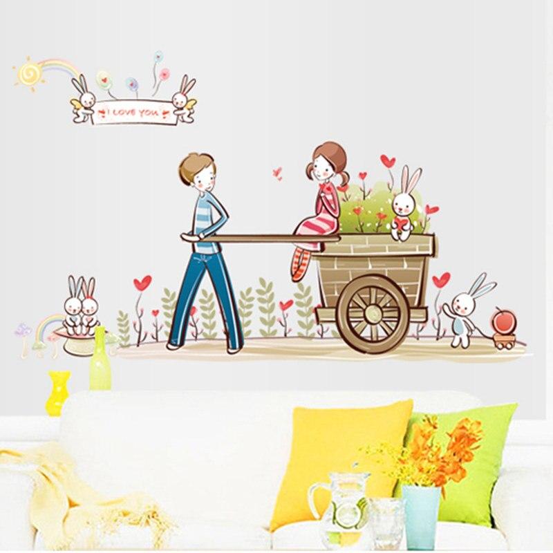 db6569e3089 ZS etiqueta dulce etiqueta de la pared Decoración para el hogar adhesivo  pareja amante