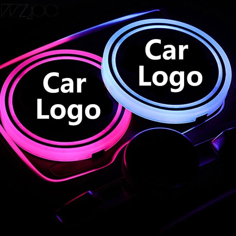 Dia. 2.6 Pollici N A LED Car Logo Cup 2pcs Pads Illuminazione 7 Colori Che cambiano USB di Ricarica Mats Bottiglia Coasters Auto Atmosfera Lampade for Honda Cars