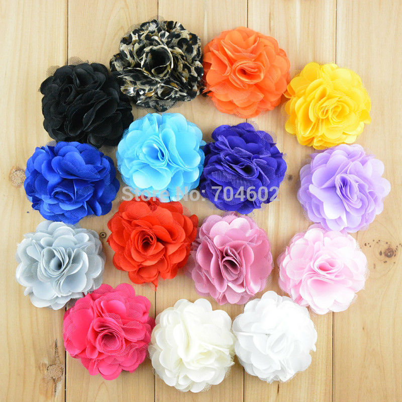 Wholesale 20 colors for choose 3 satin mesh silk flowers for wholesale 20 colors for choose 3 satin mesh silk flowers for headbands without hair clip 120pcslot free shipping f21 in hair accessories from mother mightylinksfo