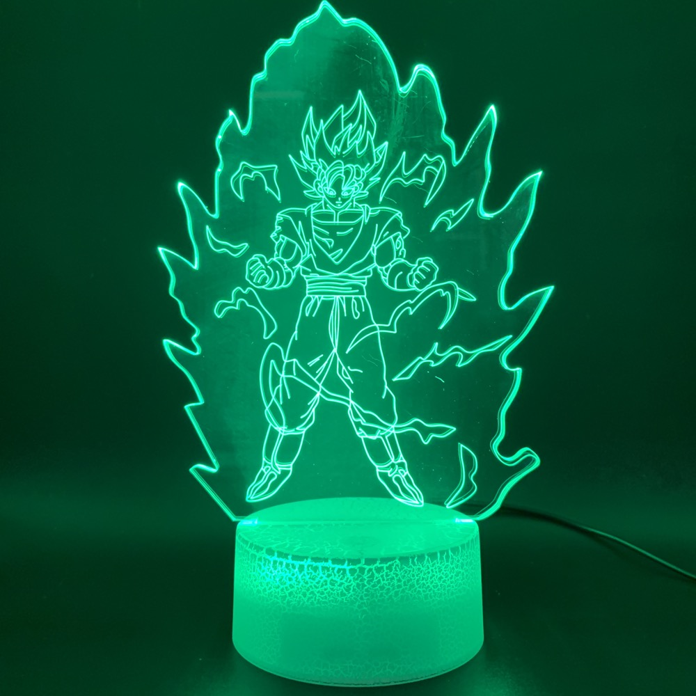 Novelty Light Dragon Ball Z Goku Super Saiyan Figure Office Home Deco Lamp Gift For Kids Child 3D Illusion Led Night Light Lamp