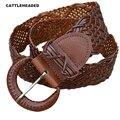 [CATTLEHEADED] 100% cowhide belt women's ultra-wide belt braided belt 2017 new leather wild casual with waist