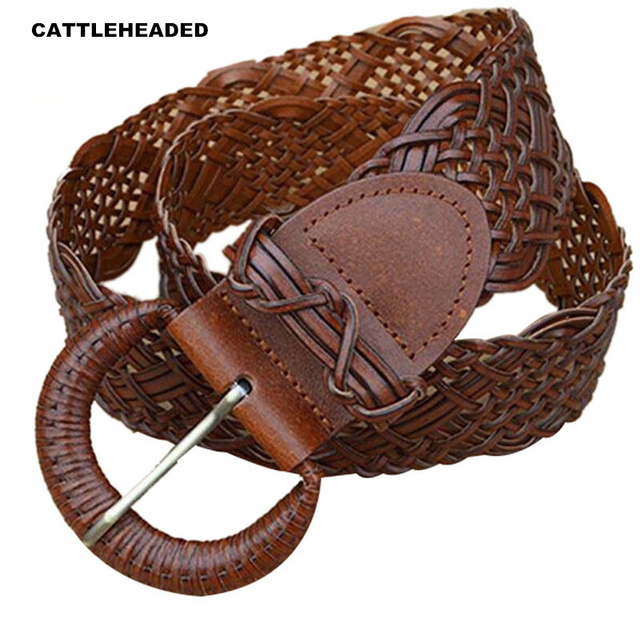 [CATTLEHEADED] 100% cowhide belt women's ultra-wide belt braided belt 2017 new leather wild casual with waist