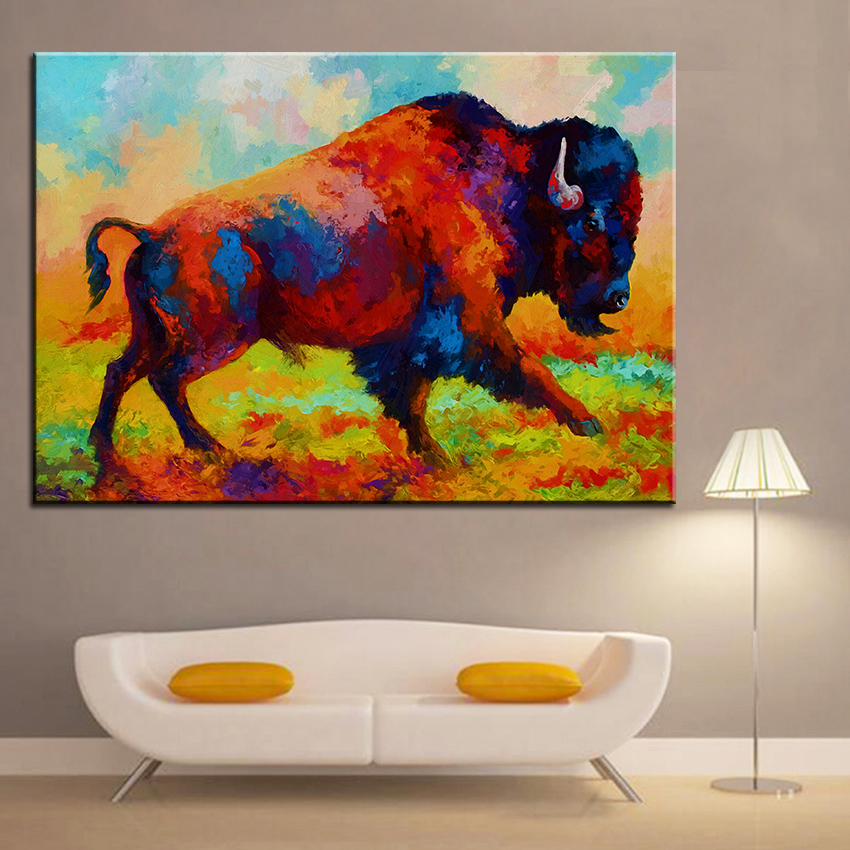 Große größe Druck Ölgemälde freies bison wandmalerei Steampunk ...