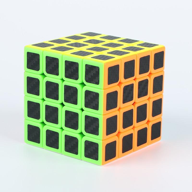 4x4x4 Carbon Fiber Sticker Rubik Cube Speed Smooth Magic Fidget Cubes Profissional Competition Magic Cube For