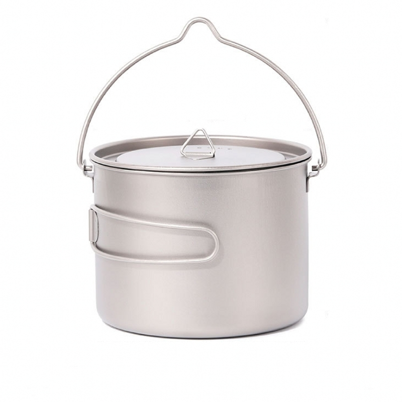 1500ml Titanium Cup Pot Ultralight outdoor tableware travel coffee tea camping pot water cup cookware with lid handle hook,1.5L