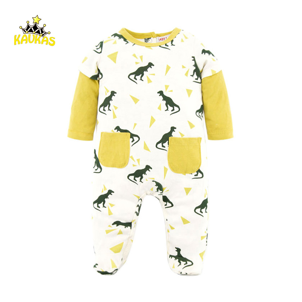 KAVKAS Boys Girls Long Sleeve Rompers Winter Body Suit Cotton Unisex Baby Clothing Cartoon Dinosaur Printed Romper Overalls Suit