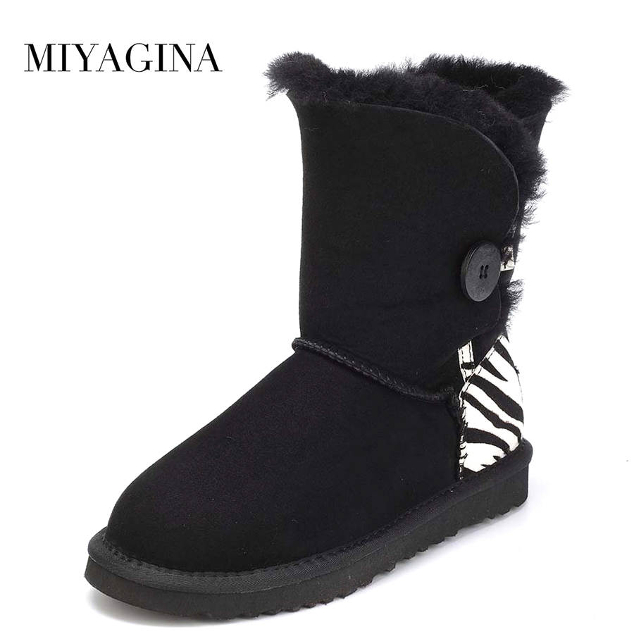 где купить Top Quality Genuine Sheepskin Leather Real Fur Snow Boots New Fashion Brand Wool Mid-Calf Botas Mujer Winter Shoes For Women дешево