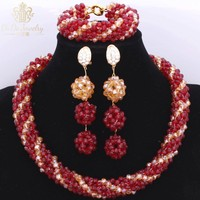One Layer High Quality Celebrity African Nigerian Wedding Crystal Women's Beads Red And Gold Arabic Jewelry Sets For Bride 2017