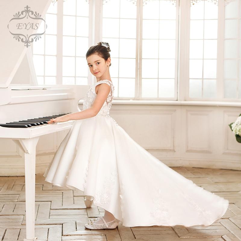 2016 EYAS Summer Girl Elegant Princess White Swallowtail Dress Piano Costume Sleeveless Lace Ball Gown C6223