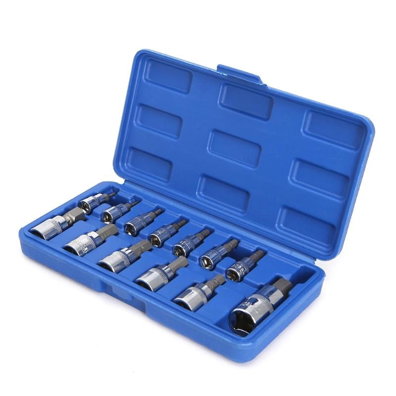 13 Pcs / 1 Set Chrome Vanadium Steel Socket Wrench Metric Allen Hex Ratchet Wrench 1/4