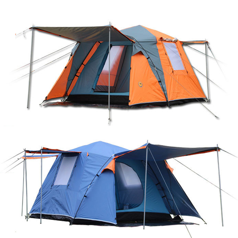 цены Large outdoor recreation camping tent 3-4 person tourist party awning automatic tent camp china barraca de acampamento tente