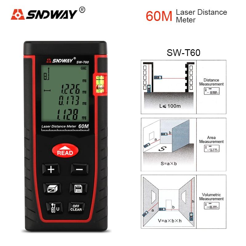 SNDWAY SW-T60 60M Laser Rangefinder Distance Measurer Laser Distance Meter Laser Range Finder Measuring Instruments optical instruments berent bt4004 lcd laser rangefinder meter