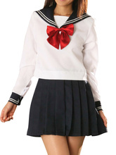 Free shipping White And Deep Blue School Uniform Cosplay Costume