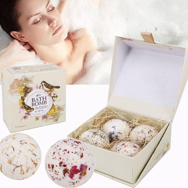 4 шт. Natural Sea соль для ванны мяч набор Лаванда Роза цветок пузырь бомбы для ванны подарок