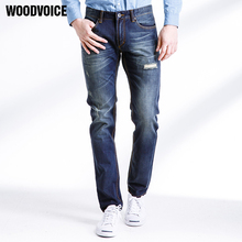 Woodvoice Top Quality Jeans Men Causal Fashion Trouser Denim Pants Male Patchwork Hole Washing Long Pants Classic Simple Trouser