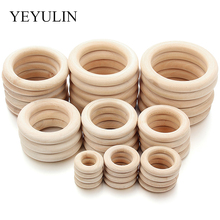 25-70mm 9 Size Fine Quality Natural Wood Teething Beads Wooden Ring Children Kids DIY Jewelry Making Crafts