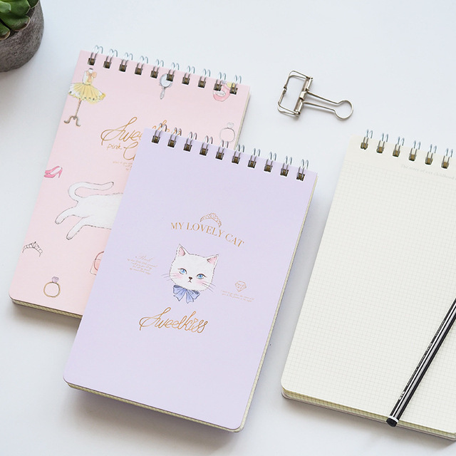 1X Lovely Princess Cat Portable Notebook School Office Supply Student Stationery Plan Message Writing Memo Pads Kids Gift