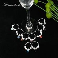 DoreenBeads, медные, посеребренные, для вина, стеклянные подвески, кольцо, белый жемчуг, имитация, смешанное стекло, вечерние, 41x25 мм, 10 шт