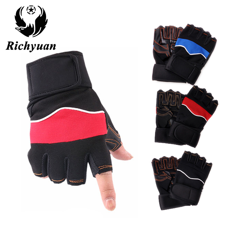 2017 High Quality Gloves Fashion Gym Gloves Fingerless Men Women Fitness Work Out Palm Wrist Protection Mittens Half Finger