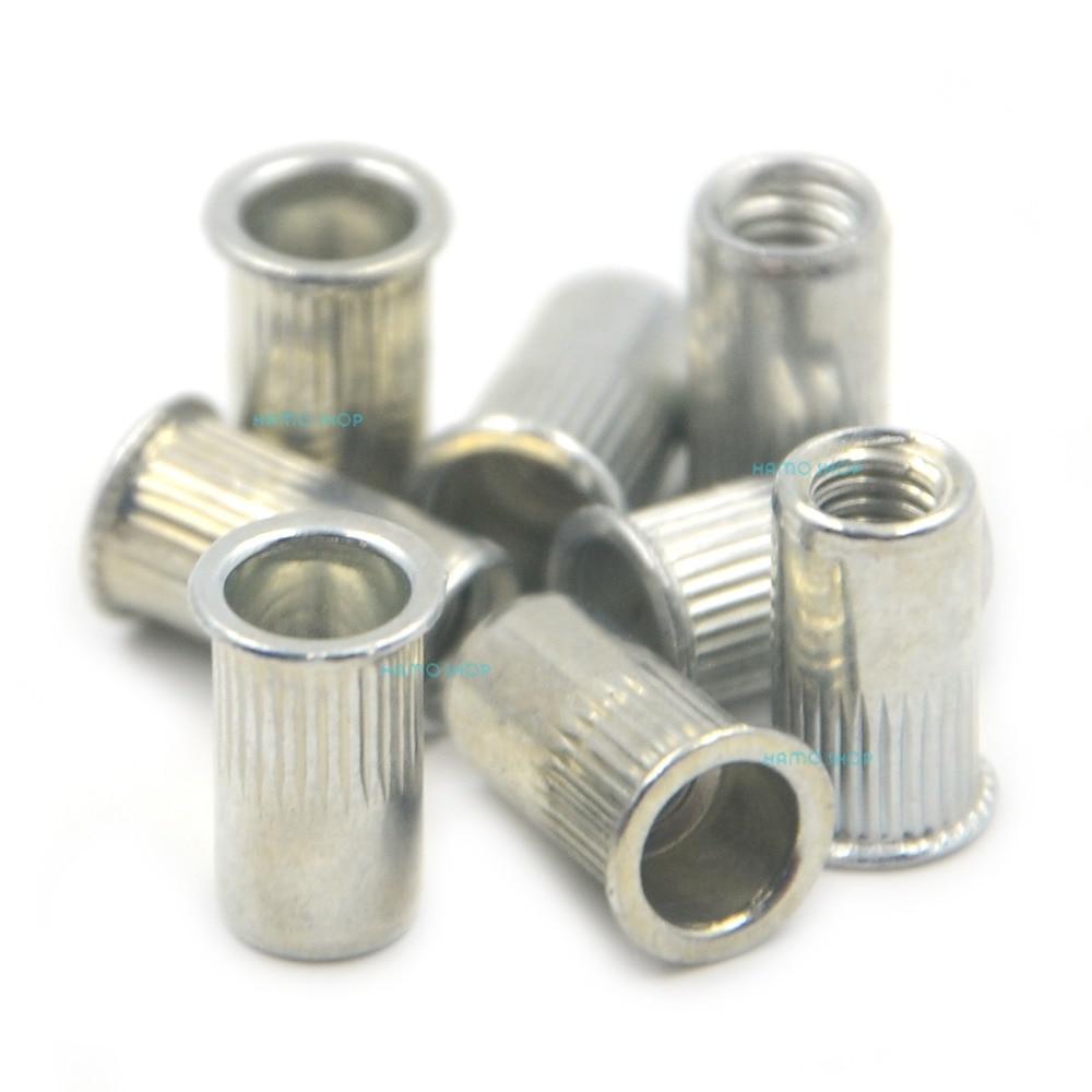 100pcs M4 Rivet Nut Normal Head Nutserts Blind Insert Rivnut Steel Threaded Multi