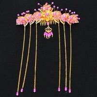 Truyền thống Trung Quốc kiểu tóc chải Miện Nhỏ sườn xám gió cô dâu cái mũ Trang Phục cưới tóc phụ kiện Bán Buôn