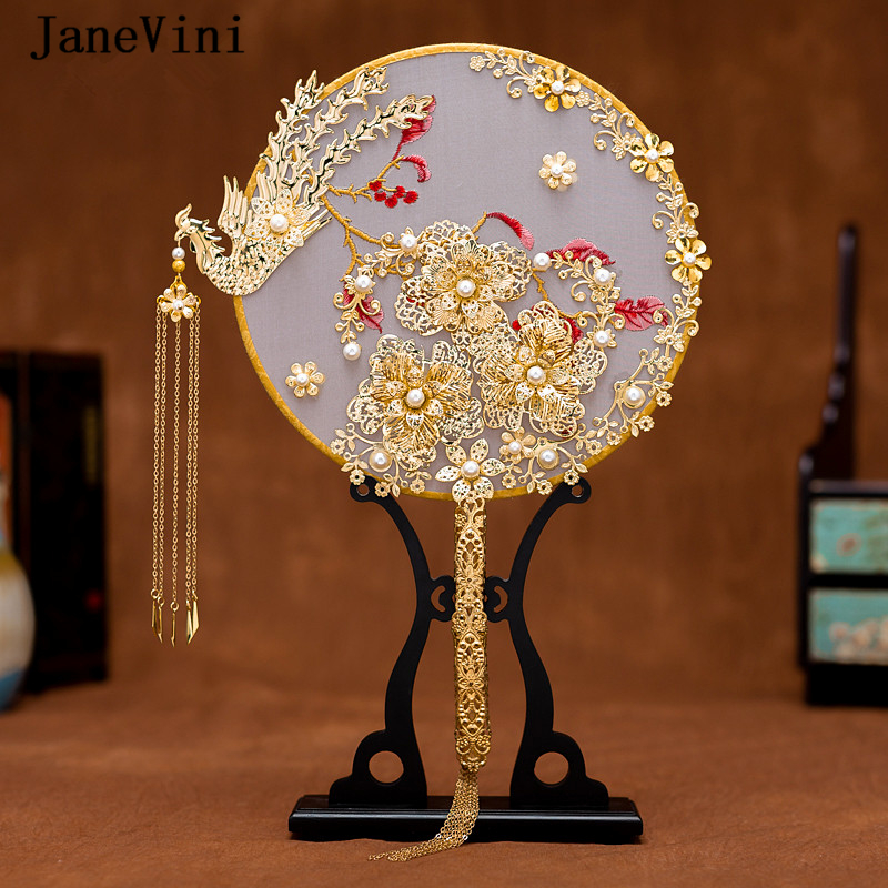 JaneVini Luxury Chinese Bridal Fan Bouquets Pearls Gold Phoenix Handmade Wedding Flowers Metal Round Hand Fan Brides Accessories