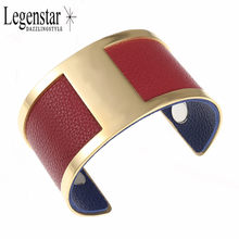 Legenstar Gold-color Cuff Bracelets H Bangles Reversible Leather Band Interchangeable Jewelry Stainless Steel Pulseiras Women(China)